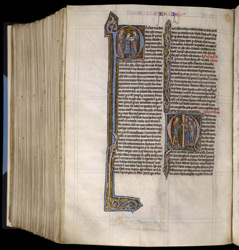 Historiated Initial With Paul Sending A Letter, And Preaching, In 'The Bible Of Robert De Bello'